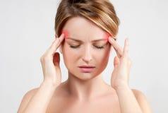 Kobieta ma migreny migrenę obraz royalty free