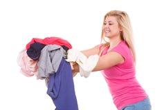 Kobieta ma mnóstwo odziewa odprasowywać Fotografia Stock