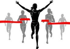Kobieta maratonu zwycięzca ilustracja wektor