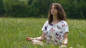 Kobieta medytuje outdoors na zielonej trawie w lecie, siedząca lotosowa koncentracja zbiory