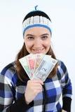 kobieta mienia pieniądze kobieta Zdjęcie Stock
