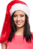 Kobieta mieszający biegowy Santa pomagiera kapeluszu portret Zdjęcie Royalty Free