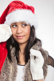 Kobieta mieszający biegowy Santa pomagiera kapeluszu portret Fotografia Royalty Free