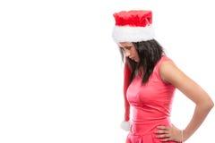 Kobieta mieszający biegowy Santa pomagiera kapeluszu portret Obraz Royalty Free
