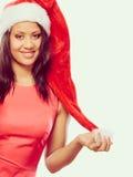 Kobieta mieszający biegowy Santa pomagiera kapeluszu portret Obraz Stock