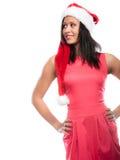 Kobieta mieszający biegowy Santa pomagiera kapeluszu portret Zdjęcie Stock