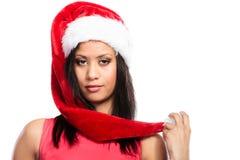 Kobieta mieszający biegowy Santa pomagiera kapeluszu portret Fotografia Stock