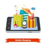 Kobieta mobilny online zakupy Zdjęcia Royalty Free