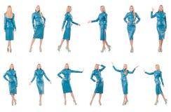 Kobieta model w błękitnym rzemiennym kostiumu Fotografia Royalty Free