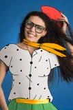 Kobieta model w kostiumu narisovanna Obrazy Stock