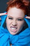 Kobieta model z szalonym wyrażeniem Zdjęcie Stock