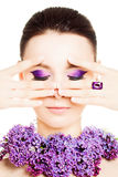 kobieta mody Żeńska twarz Jaskrawy Kolorowy Makeup Zdjęcie Stock