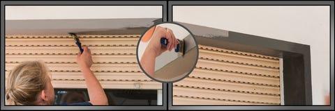 Kobieta muska domową ścianę zdjęcie stock