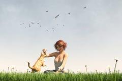 Kobieta na greenfield cieszy się lato z jej kotem ilustracji