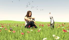 Kobieta na greenfield cieszy się lato z jej kotem royalty ilustracja