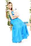 Kobieta na huśtawce na białym tle Fotografia Stock