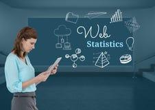 Kobieta na pastylce z sieci statystyk tekstem z rysunek grafika Zdjęcia Stock