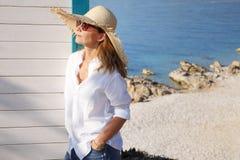 Kobieta na plaży Fotografia Stock
