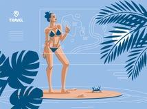 Kobieta na plaży w lecie, w swimsuit ilustracji