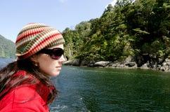 Kobieta na rejs łodzi Zdjęcie Stock