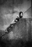 Kobieta na schodkach obrazy stock