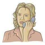 Kobieta na telefonie royalty ilustracja