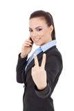 Kobieta na telefonu pokoju znaku Obrazy Royalty Free