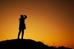 Kobieta na wierzchołku Fotografia Royalty Free