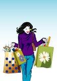 kobieta na zakupy royalty ilustracja