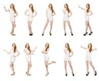 Kobieta naciska wirtualnego guzika odizolowywającego na bielu Obrazy Stock