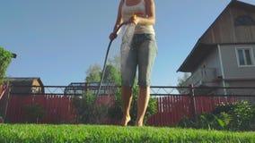 Kobieta nawadnia gazon zbiory wideo
