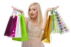 Kobieta no może wybierać co kupować Zdjęcie Royalty Free