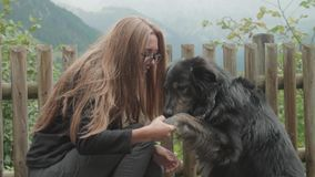 Kobieta Obejmuje Jej psa zbiory wideo