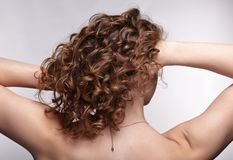 Kobieta od zadka z kędzierzawym włosy fotografia royalty free