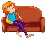 Kobieta odpoczywa przy kanapą ilustracji