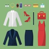 Kobieta odziewa Moda biznesu styl dla żeńskiej biurowych kierowników dyrektorów garderoby spódnicowego kostiumu kurtki torby wekt ilustracja wektor