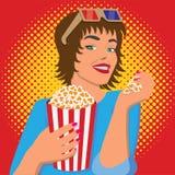 Kobieta ogląda film, uśmiecha się popkorn i je, ilustracja wektor