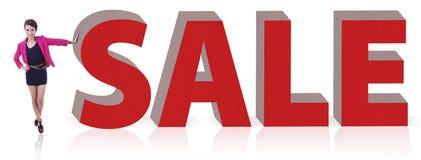 kobieta ogromna sprzedaży znaka kobieta Fotografia Stock