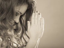 Kobieta ono modli się bóg Jesus Religii wiara Obrazy Stock