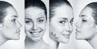 Kobieta ono uśmiecha się w plastikowym kolażu Zdjęcie Royalty Free