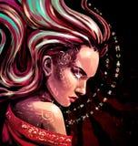 Kobieta Oracle z iskrami w jej oczach Obrazy Stock