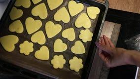 Kobieta otwiera piekarnik, zamyka ciastka i zamyka piekarnik zdjęcie wideo