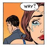 Kobieta płacz powiedział dlaczego otwarty mężczyzna ilustracja wektor