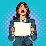 Kobieta płaczu pustego miejsca deska royalty ilustracja