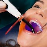 Kobieta pacjent przy dentysta operacją Obrazy Stock