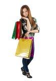 Kobieta Pakuje kupienie prezenty Obraz Royalty Free
