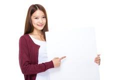 Kobieta palca punkt biały sztandar Zdjęcie Stock