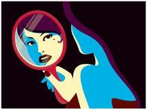 Kobieta patrzeje ją w lustrzanej mody projekta wektoru minimalnej płaskiej ilustraci Zdjęcie Stock