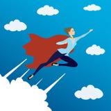 Kobieta patrzeje jak Super bohatera latanie w niebie, ilustracja wektor