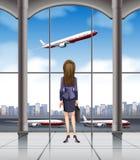 Kobieta patrzeje samolot bierze daleko ilustracji